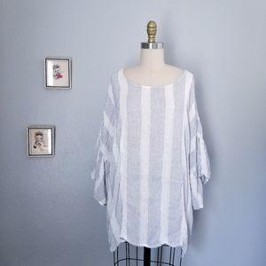 Bobeau nordstrom striped ruffle blouse plus size